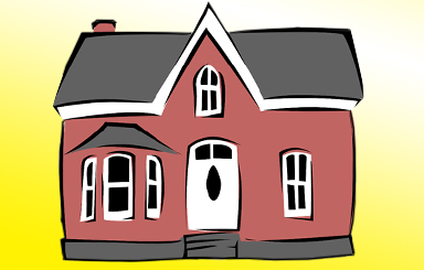 Drawing of a 2 story brown house on a yellow background.