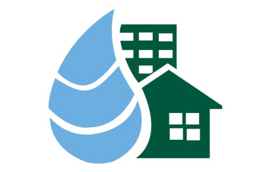 Graphic of green house and blue water droplet.