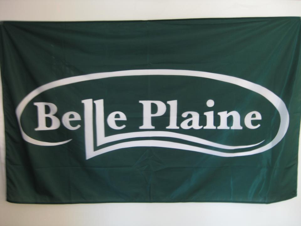 Green flag with the Belle Plaine logo in white.