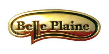Gold tone Belle Plaine lapel pin with the city logo