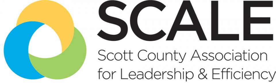 Logo image of SCALE - Scott County Association for Leadership and Efficiancy. Image of blue tree in a circle.